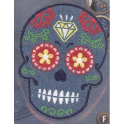 Ecusson Thermocollant TETE DE MORT MEXICAINE SKRULL 12x9.5 CM CREA PECAM 1