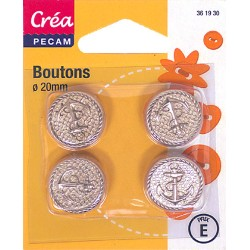 4 BOUTONS MARINS A QUEUE CREA PECAM 20mm
