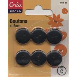 6 BOUTONS BOMBES 18mm NOIR CREA PECAM