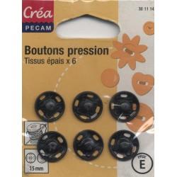 6 BOUTONS PRESSION TISSUS EPAIS 15 CREA PECAM