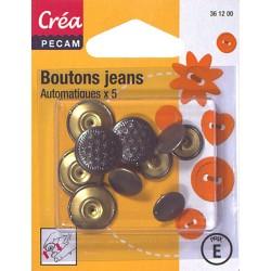 5 boutons jeans automatiques CREA PECAM