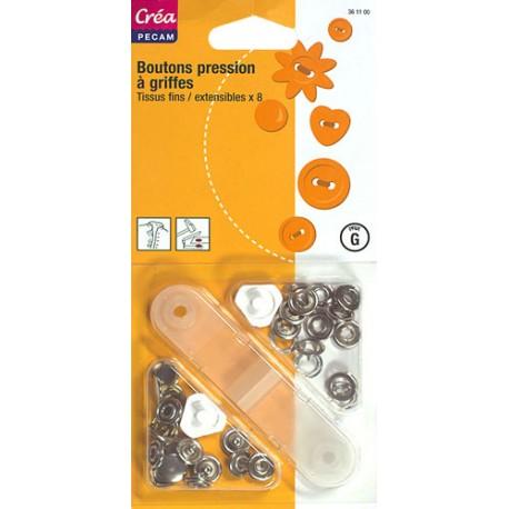 8 boutons pressions à griffes pour tissus fins CREA PECAM