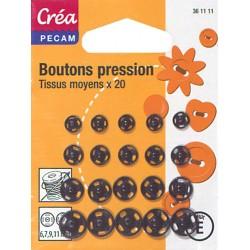20 BOUTONS DE PRESSION TAILLE ASSORTIES 6,7,9,11mm NOIR CREA PECAMmm ARGENTE