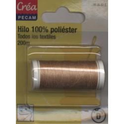 BOBINES FIL 200M polyester SABLE  tous textiles a main ou machine