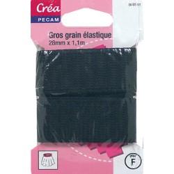 ELASTIQUE GROS GRAIN NOIR 1.10mX28mm CREA PECAM