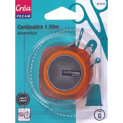 Centimètre automatique METRE  COUTURE rétractable 1.50 mètre ORANGE CREA PECAM