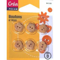 6 BOUTONS BOIS 14mm CREA PECAM
