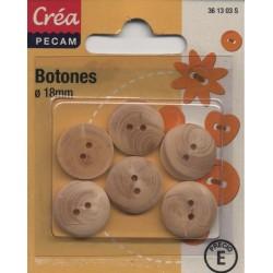 6 BOUTONS BOIS 18mm CREA PECAM