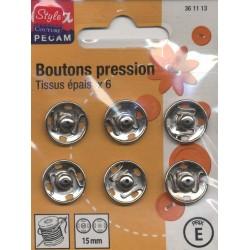 6 BOUTONS PRESSION TISSUS EPAIS 15 CHROME CREA PECAM