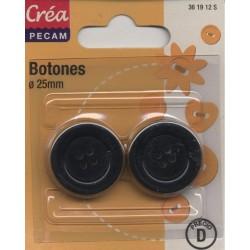 2 BOUTONS NOIR DIAMETRE 25mm CREA PECAM