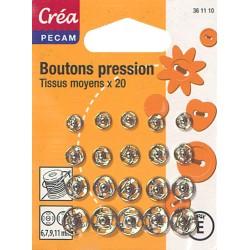 20 BOUTONS DE PRESSION TAILLE ASSORTIES 6,7,9,11mm ARGENTE CREA PECAM