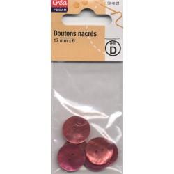 6 BOUTONS NACRE NATURELLE 17mm ROUGE / ROSE CREA PECAM
