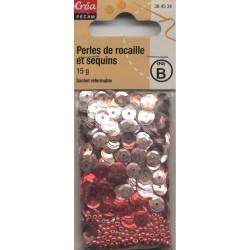 sachet 15g PERLES DE ROCAILLE ET SEQUINS ROSE & ROUGE CREA PECAM