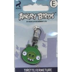 Tirettes fermetures éclair  ANGRY BIRDS COCHON VERT