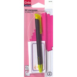 12 étiquettes thermocollantes + crayon à marquer le linge Créa Pecam