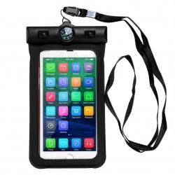 """Housse étanche avec boussole (10M profondeur) pour smartphones de 4"""" à 5.2"""" norme  IPX8"""