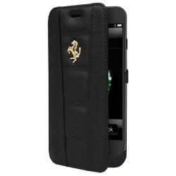 étui Folio cuir FERRARI Batterie intégrée noir pour APPLE IPHONE 6/6S
