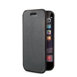 ETUI PORTEFEUILLE FOLIO cuir écologique noir pour Apple iPhone 6