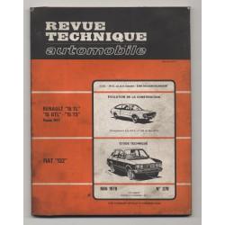 Revue Technique Automobile No 378 FIAT 132 Renault 15 TL GTL TS