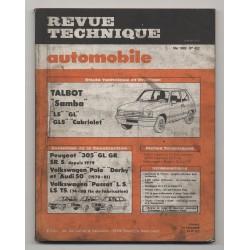 Revue Technique Automobile No 422 TALBOT Samba Peugeot 305 VW POLO