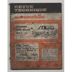 Revue Technique Automobile No 436 Peugeot 305 D Ford Taunus Opel Ascona