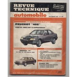 Revue Technique Automobile No 486 Peugeot 405 Renault 25