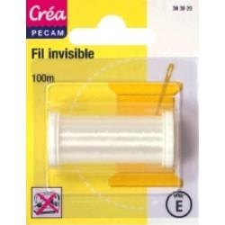 BOBINES FIL 100M polyamide invisible tissus clair CREA PECAM