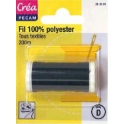 BOBINES FIL 200M polyester NOIR  tous textiles a main ou machine CREA PECAM
