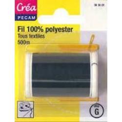 BOBINES FIL 500M polyester NOIR tous textiles a main ou machine CREA PECAM