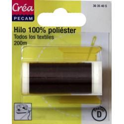BOBINES FIL 200M polyester CAFE  tous textiles a main ou machine CREA PECAM
