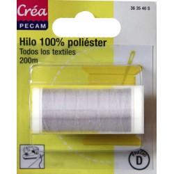 BOBINES FIL 200M polyester GRIS PERLE  tous textiles a main ou machine