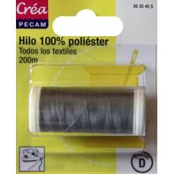 BOBINES FIL 200M polyester GRIS FONCE  tous textiles a main ou machine