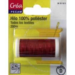 BOBINES FIL 200M polyester ROUGE PROFOND  tous textiles a main ou machine CREA PECAM