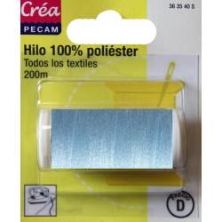 BOBINES FIL 200M polyester BLEU CIEL  tous textiles a main ou machine CREA PECAM