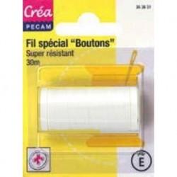 BOBINES FIL 30M polyester BLANC SPECIAL BOUTONS CREA PECAM