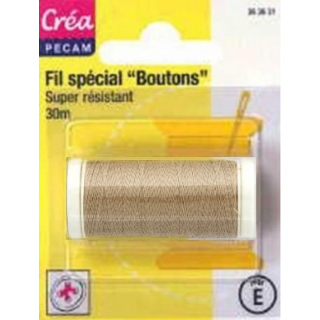 BOBINES FIL 30M polyester ECRU SPECIAL BOUTONS CREA PECAM