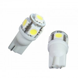 2 AMPOULE LED BLANC pour Veilleuse T10 5 LEDs SMD W5W