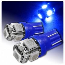 2 AMPOULE LED BLEU pour Veilleuse T10 5 LEDs SMD W5W