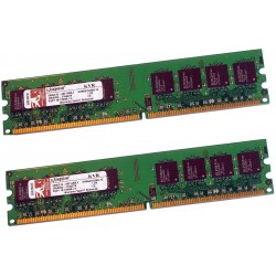 KIT MEMOIRE 2 GO DDR2 KINGSTON 2x1 Go  667 MHz PC2-5300 CL5 KVR667D2N5/1G