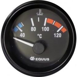 Manometre EQUUS jauge Temperature eau 40° à 120° fond noir Diametre 52mm