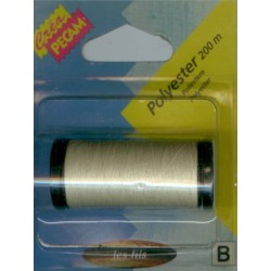BOBINES FIL 200M polyester ECRU tous textiles a main ou machine CREA PECAM