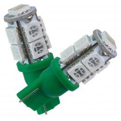 2 AMPOULE LED VERT pour Veilleuse T10 9 LEDs SMD W5W