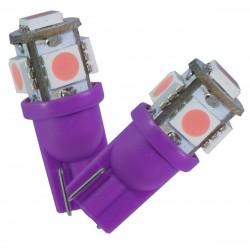 2 AMPOULE LED  VIOLET pour Veilleuse T10 9 LEDs SMD W5W