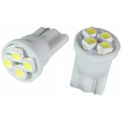 2 AMPOULES LED 4 SMD T10  culot W5W 12V BLANC style XENON