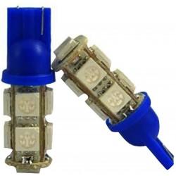 2 AMPOULE LED BLEU pour Veilleuse T10 9 LEDs SMD W5W