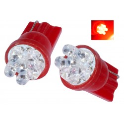 2 AMPOULE 7 LED ROUGE pour Veilleuse T10  W5W 12v