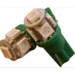 2 AMPOULE LED VERT pour Veilleuse T10 5 LEDs SMD W5W