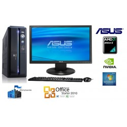 "PC  COMPLET ASUS ATHLON II B22 x2 2.8 ghz 4 GO  320 GO N'VIDIA WIN 7 19"""
