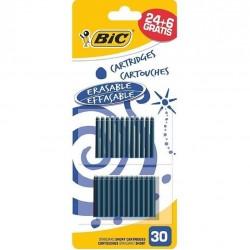 30 Cartouches courtes bleues universelles BIC Encre bleue Effaçable