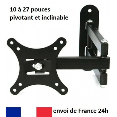 "Support mural ecran TV PC moniteur pivotant & inclinable LCD 10-27"" VESA 55à100"